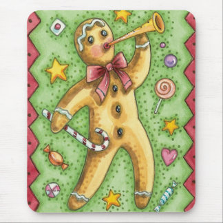 Cute Gingerbread Man Blowing Horn, Christmas Candy Mouse Pad