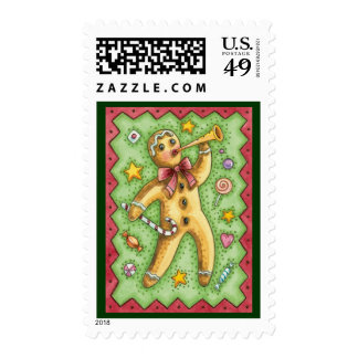 Cute Gingerbread Man Blowing Horn, Christmas Candy Postage