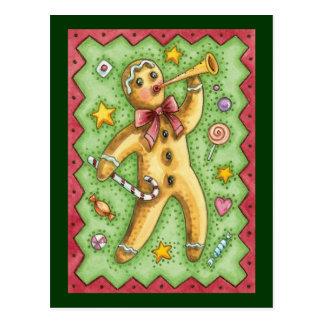 Cute Gingerbread Man Blowing Horn, Christmas Candy Postcard