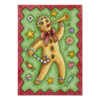 Cute Gingerbread Man Blowing Horn, Christmas Candy Poster