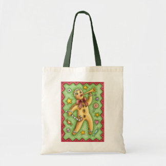 Cute Gingerbread Man Blowing Horn, Christmas Candy Tote Bag