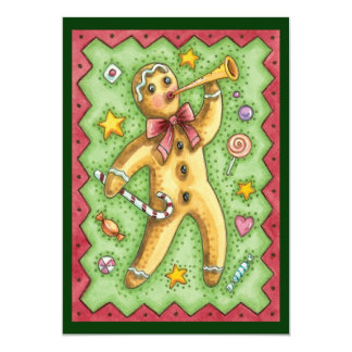 Cute Gingerbread Man Blowing Horn, Christmas Party Announcement