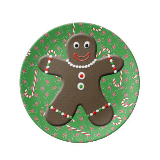 Cute Gingerbread Man Boy Candy Canes Christmas Dinner Plate