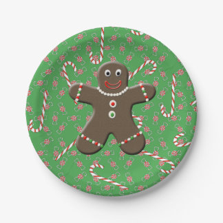Cute Gingerbread Man Boy Christmas Candy Canes Paper Plate