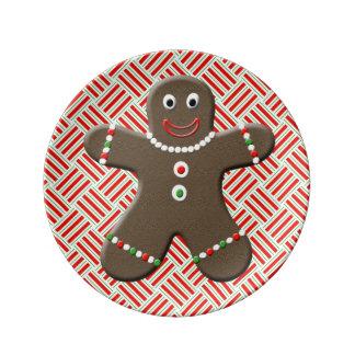 Cute Gingerbread Man Boy Christmas Holiday Plate Porcelain Plate