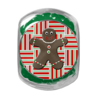 Cute Gingerbread Man Boy Christmas Holiday Red Glass Candy Jars