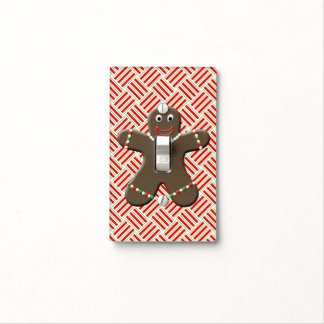 Cute Gingerbread Man Boy Cookie Christmas Red Light Switch Cover