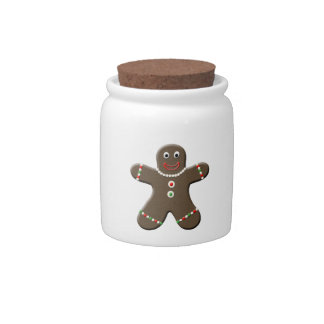 Cute Gingerbread Man Boy Cookie Christmas Xmas Candy Jars