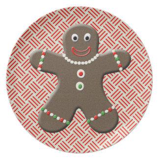 Cute Gingerbread Man Boy Festive Christmas Red Plate