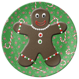 Cute Gingerbread Man Boy Holiday Christmas Plate