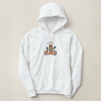 Cute Gingerbread Man Chef Large Embroidered Hoodie