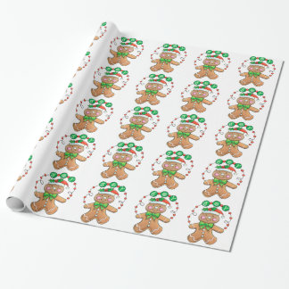 Cute Gingerbread man, Christmas Joy Gift Wrapping Paper