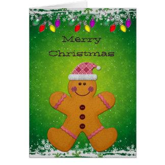 Cute Gingerbread Man & Christmas Lights Card