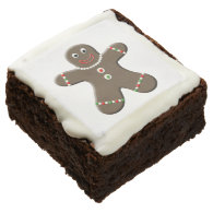 Cute Gingerbread Man Christmas Treats Square Brownie