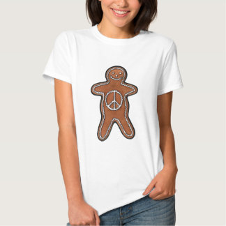 Cute Gingerbread Man Cookie with Peace Symbol T Shirt