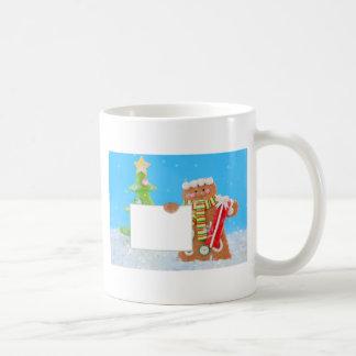 Cute gingerbread man holding a sign coffee mug