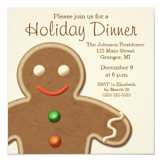Cute Gingerbread Man Holiday Party Card
