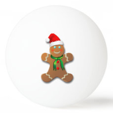 Cute Gingerbread Man With A Red Santa Hat Ping-Pong Ball