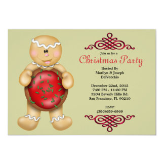 CUTE Gingerbread Man With Cookie and With Red Bord Card