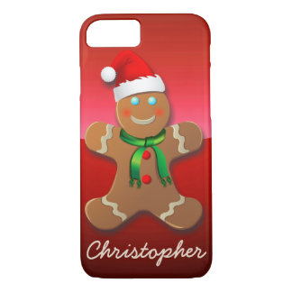 Cute Gingerbread Man With Red Santa Hat iPhone 8/7 Case