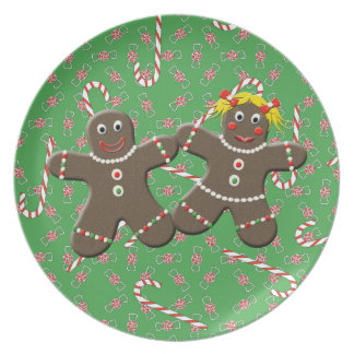 Cute Gingerbread Man Woman Couple Christmas Plate