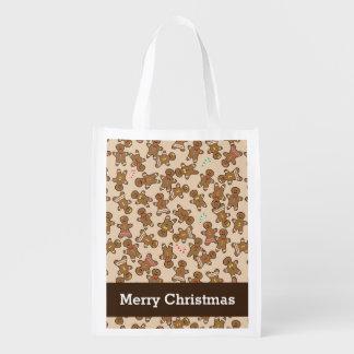 Cute Gingerbread Men Christmas Holiday Cookies Reusable Grocery Bag
