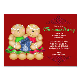 CUTE Gingerbread Men with Present With Red Border Card
