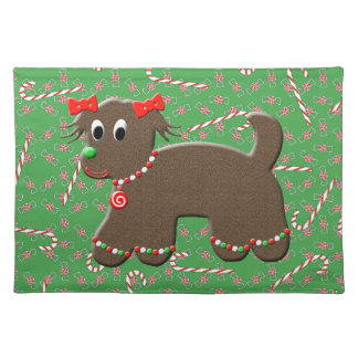 Cute Gingerbread Puppy Dog Christmas Candy Canes Placemat