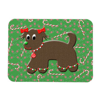 Cute Gingerbread Puppy Dog Christmas Candy Canes Rectangular Photo Magnet