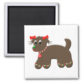 Cute Gingerbread Puppy Dog Christmas Holiday 2 Inch Square Magnet
