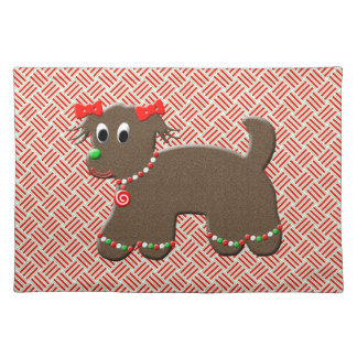 Cute Gingerbread Puppy Dog Christmas Placemat