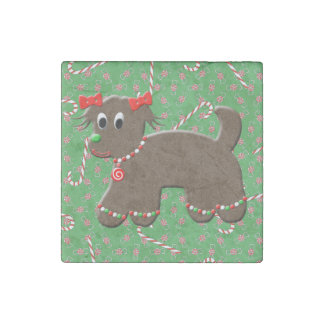 Cute Gingerbread Puppy Dog Cookie Candy Christmas Stone Magnet