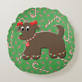 Cute Gingerbread Puppy Dog Cookie Christmas Round Pillow