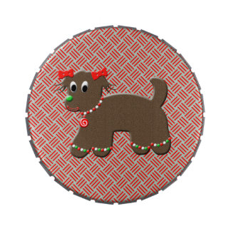 Cute Gingerbread Puppy Doggy Christmas Treats Candy Tin