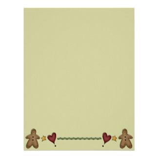 Cute Gingerbread Recipe Page Letterhead Template