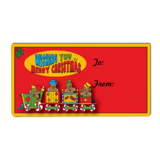 Cute Gingerbread Train Gift Tag Label