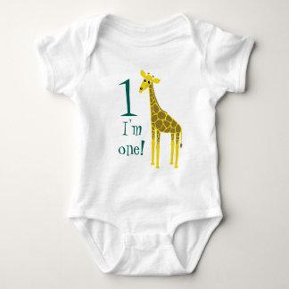 Cute Giraffe 1st Birthday Baby Bodysuit