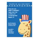 Cute Giraffe 4th Fourth of July Birthday Invite