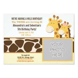 Cute Giraffe African Animals *PHOTO* Birthday 5x7 Card