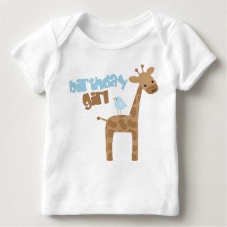 Cute Giraffe and Bird Birthday Shirt