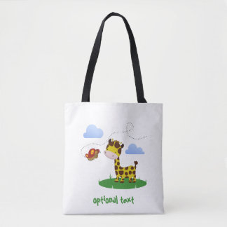Cute Giraffe and Butterfly All-Over-Print Tote Bag