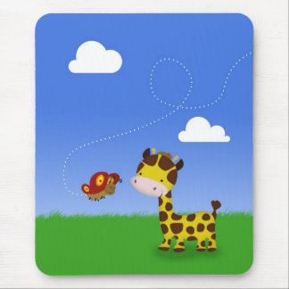Cute Giraffe and Butterfly - Mousepad