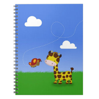 Cute Giraffe and Butterfly - Notebook