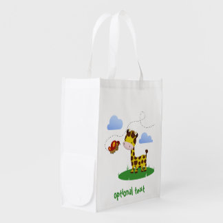 Cute Giraffe and Butterfly - Reusable Bag Market Tote