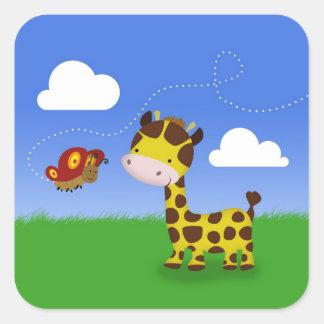 Cute Giraffe and Butterfly - Sticker