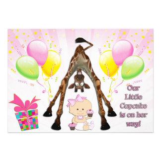 Cute Giraffe Baby Girl with Cupcakes Baby Shower Custom Invites