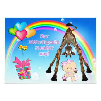 Cute Giraffe Baby Girl with Cupcakes Baby Shower Invitation