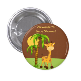 Cute Giraffe  Baby Shower Button