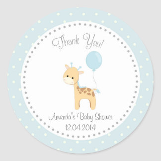 Cute Giraffe Baby Shower Sticker (Blue)