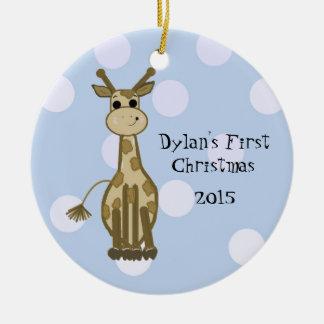 Cute Giraffe Baby's First Christmas Ceramic Ornament